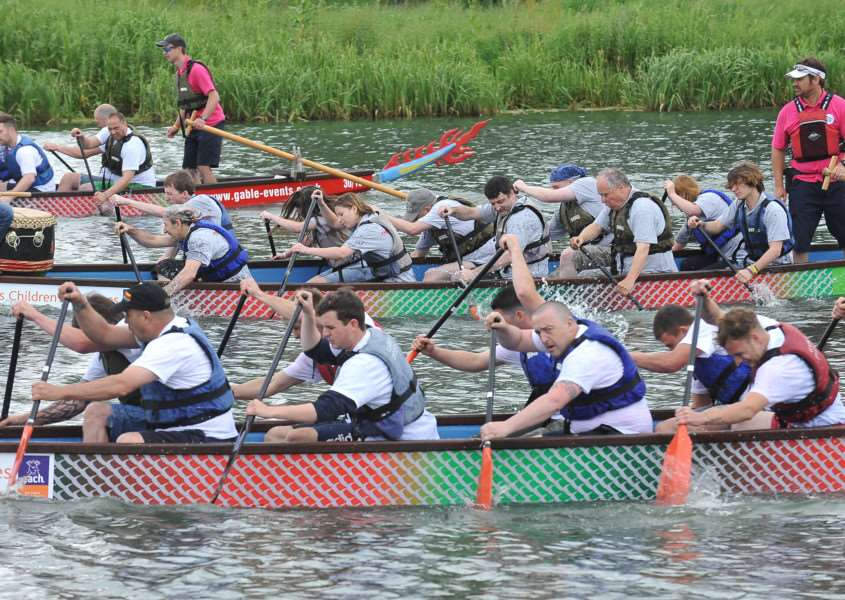 Peterborough Dragon Boat Festival 2014. On the water action from the event. EMN-140614-171848009