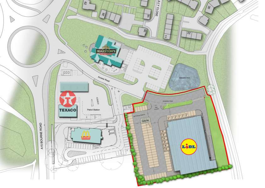 The proposed site for a new Lidl store in Bourne. EMN-141217-173909001