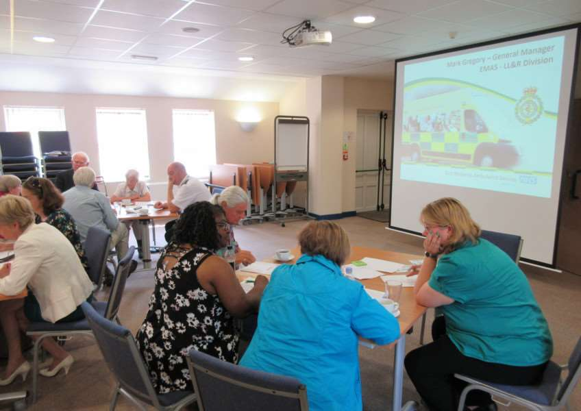 EMAS staff Mark Gregory and Tim Hargraves speak at the Healthwatch Rutland listening event EMN-160722-155837001