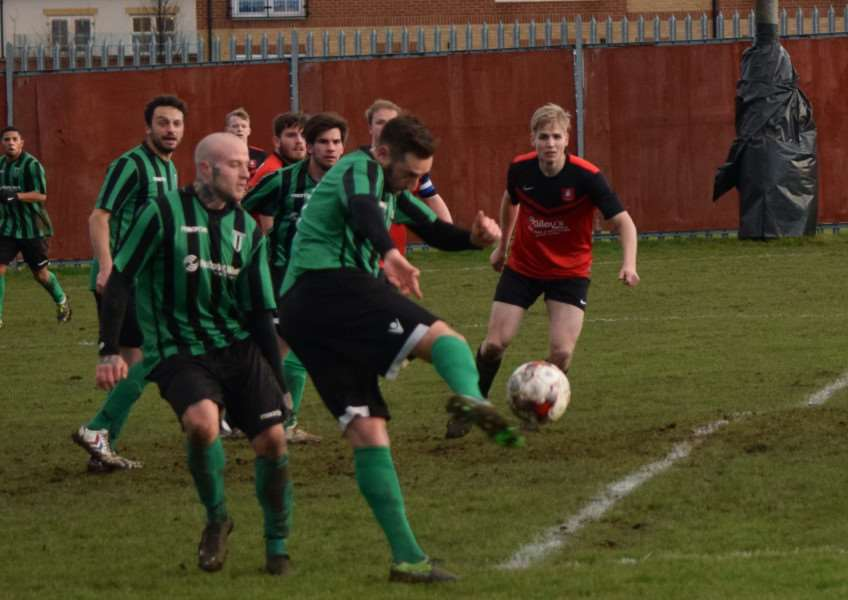 Action from Stewarts & Lloyds AFC v Blackstones. Photo: Martin Davies
