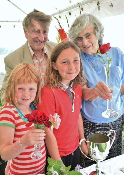 Uppingham Produce Show. Richard and Shirley Harris and granddaughters Katelyn and Chloe Collingwood EMN-150208-212853009