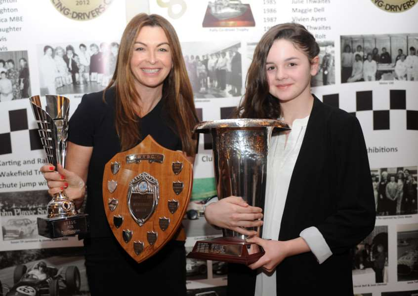 THREE GEARS FOR SUCCESS: Abbi Pulling with ex-Formula One presenter Suzi Perry after claiming three prizes, including the Mary Wheeler Trophy for overall club champion, at the BWRDC Awards in Warwickshire.