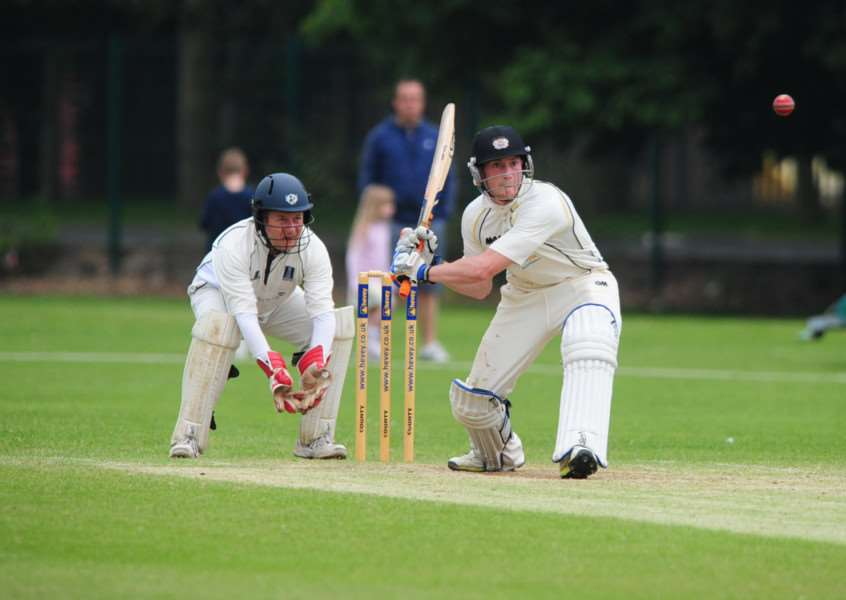 Cricket action from Peterborough Town v Geddington'Ashley Rodgers bats for Town ENGEMN00120130618204926