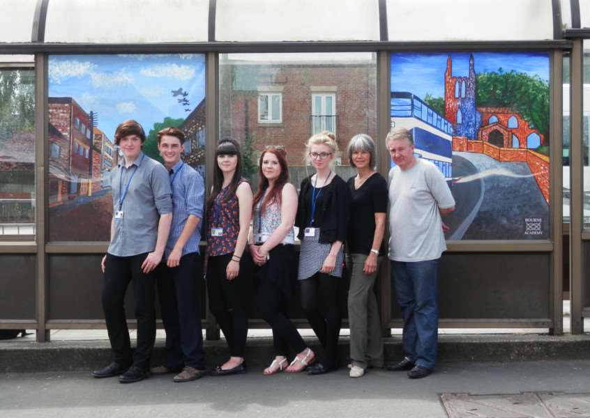 Pupils, from left, Sam Parker, Cameron Price, Charlie Farrar, Megan Edwards and Claudia Wilkie, with Nelly Jacobs and Ian Sismey, from Bourne Town Council