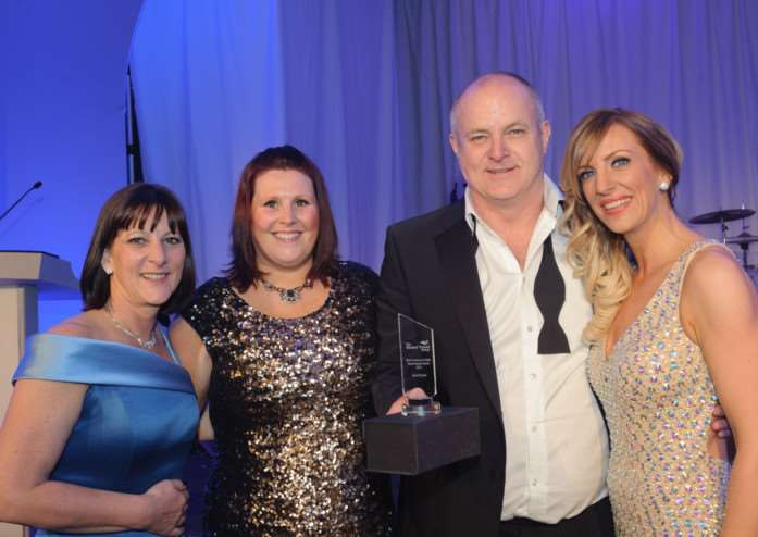 Savvi Travel award. From left to right Kay Batley ' Savvi Travel | Cherie Richards - Global Travel Group Commercial Director | Dave Batley - Sales Director Savvi Travel | Joanne Briggs ' Business Development Manager South Region EMN-150304-112906001