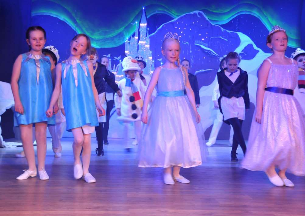 Some of the Deeping Gang Show cast show off their version of Riverdance in the setting of Disney's Frozen. Photo by Tim Wilson.