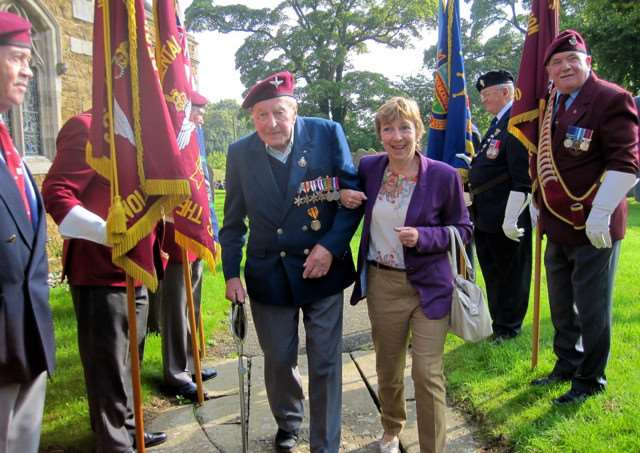 10 Para veteran Tony Constable, with niece-in-law Bev, at the 2014 parade and service in Somerby EMN-160902-093957001