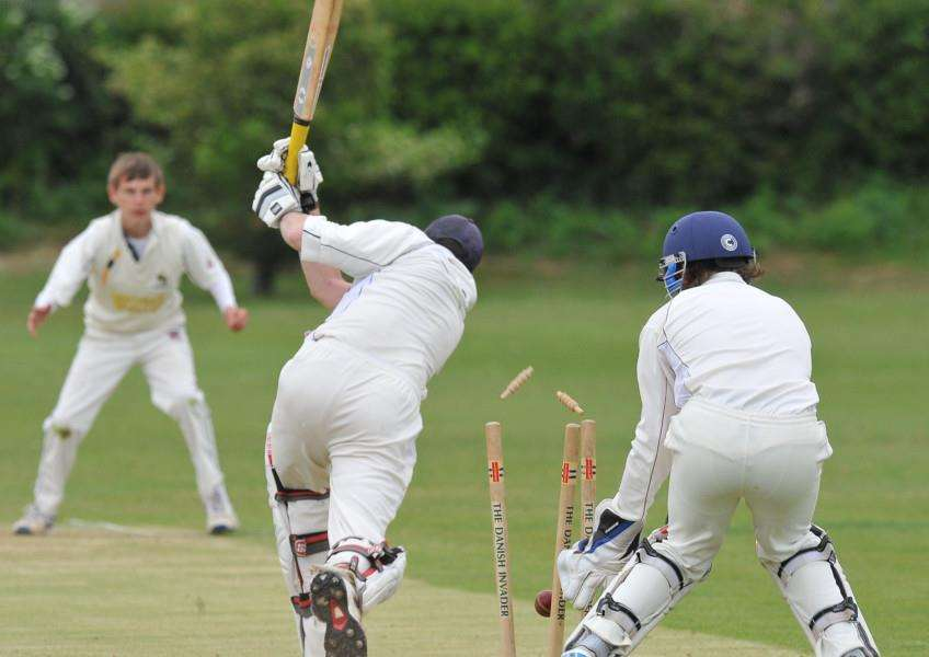 Stamford's Chris Bore is bowled by Nassington's Harrison Craig for 27 in a Stamford KO Shield tie. Photo: David Lowndes.