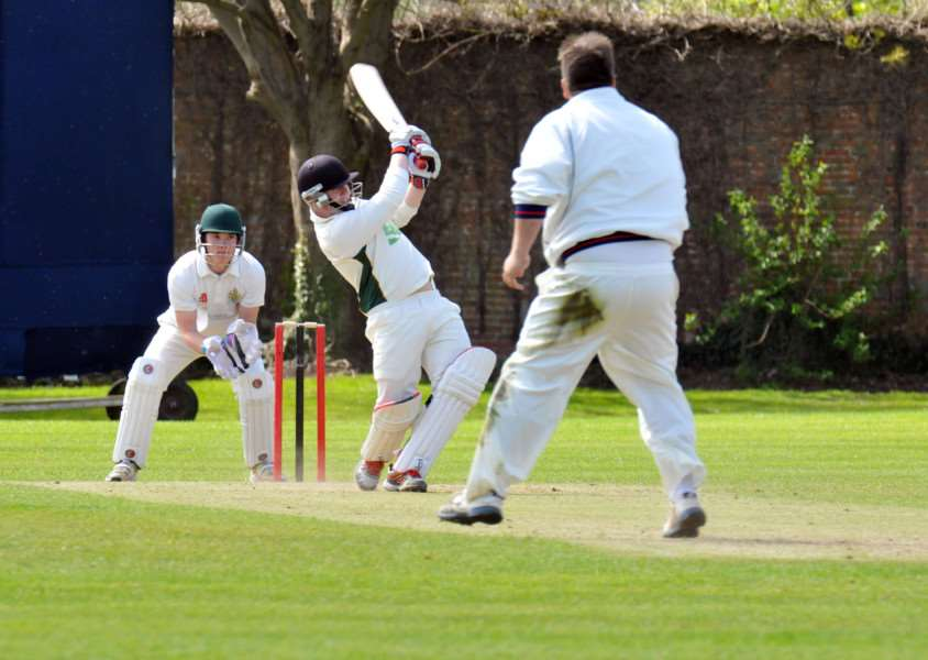 Abbey Lawn, Bourne - cricket action all day (4 matches). Winkworth Cup group games with Bourne, Market Deeping and Spalding'Deeping (batting) v Spallding game'Cameron Roy to Patrick Brown ANL-150405-180038001