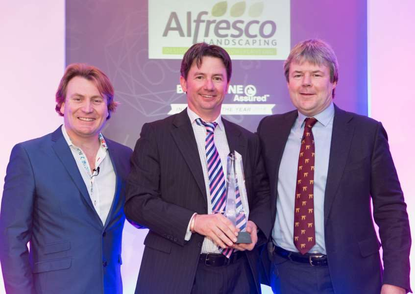 Alastair Peat, director of Alfresco Landscaping with host and TV personality, David Domoney, and Bradstones commercial director, Toby Stuart-Jervis EMN-160402-163700001