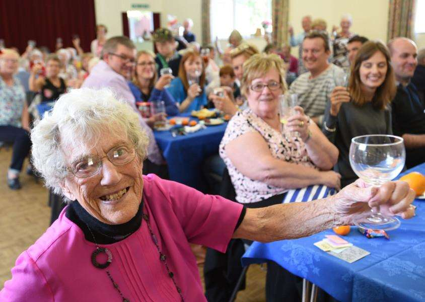 Nellie Sanders orgainising her fundraising lunch for Wateraid and the British Heart foundation at Bourne Abbey church hall EMN-150920-165104009