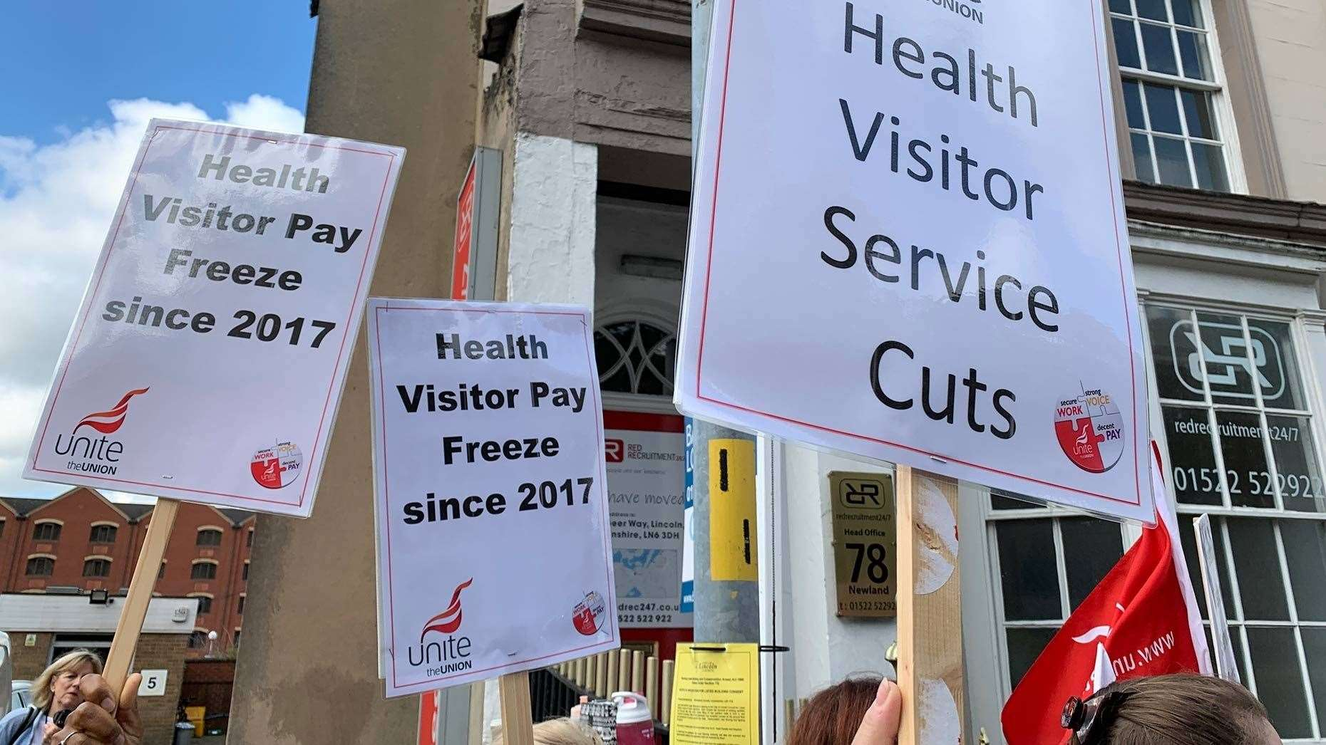 Health visitors under the Unite union gathered outside Lincolnshire County Council offices to demand pay rises (13825626)