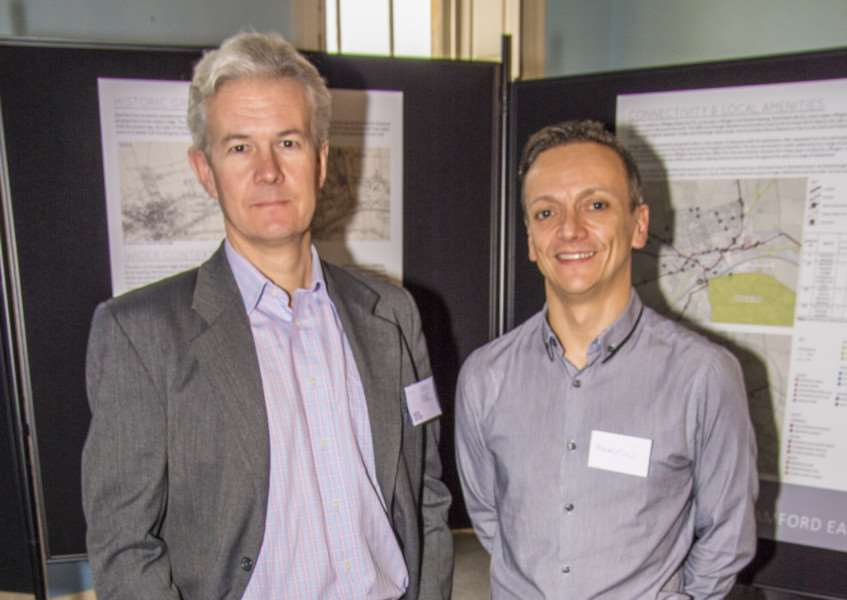 Justin Thomas from New River and Martin King of Urban Green at a public exhibition for up to 100 new homes on the former Mirrlees Blackstone site in Stamford