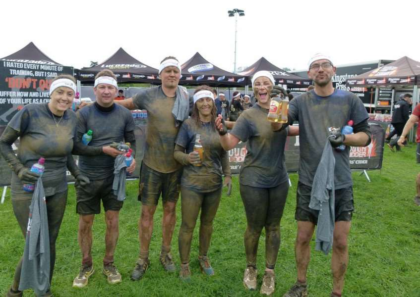 ...and muddy at the finish line!