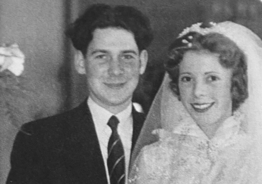 Mick and Shirley Wicks on their wedding day in 1956