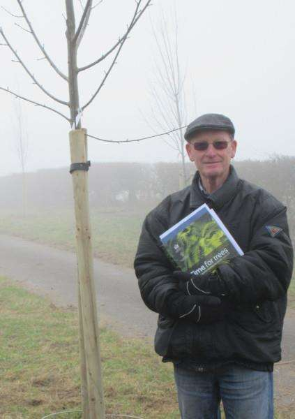 New trees in Greetham, plus tree warden Peter Hitchcox