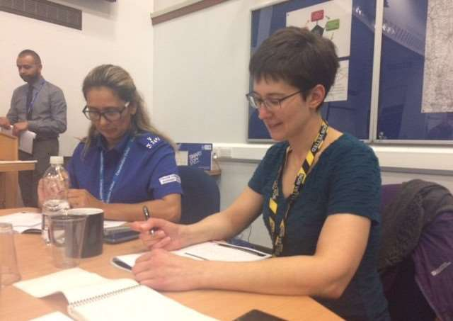 Zoe Myall joins the team at the ACT NOW exercise at Lincolnshire Police HQ.