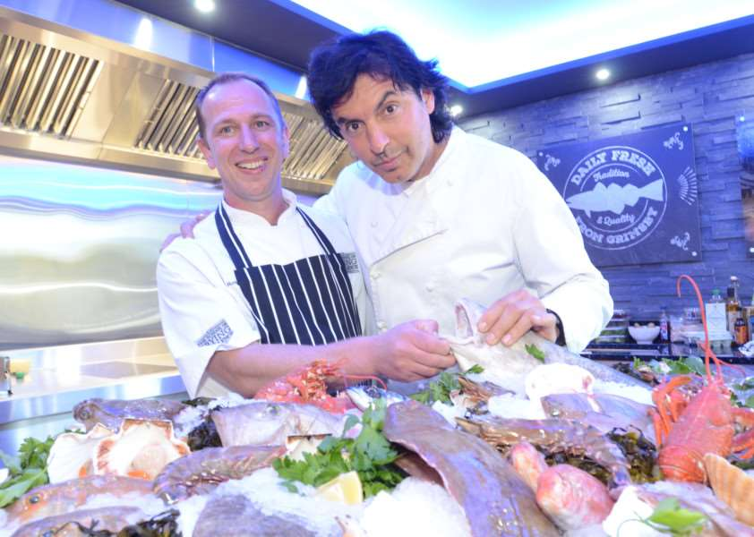 Chefs Gary Rosser and guest chef Jean-Christophe Novelli at opening of a new grilling area at KFE Market Deeping EMN-160420-163418009