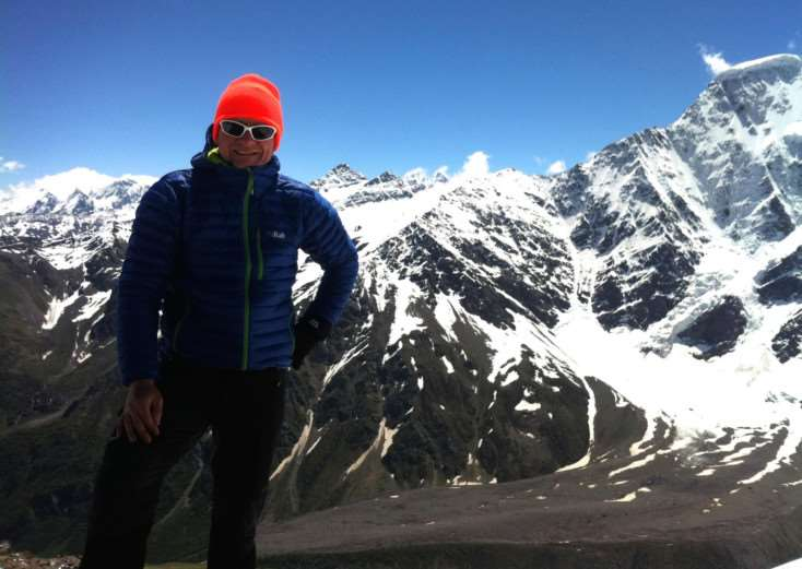 Chris Foster pictured at the summit of Mount Elbrus in Russia - the first peak on his challenge to climb the highest mountains on seven continents EMN-150123-121055001