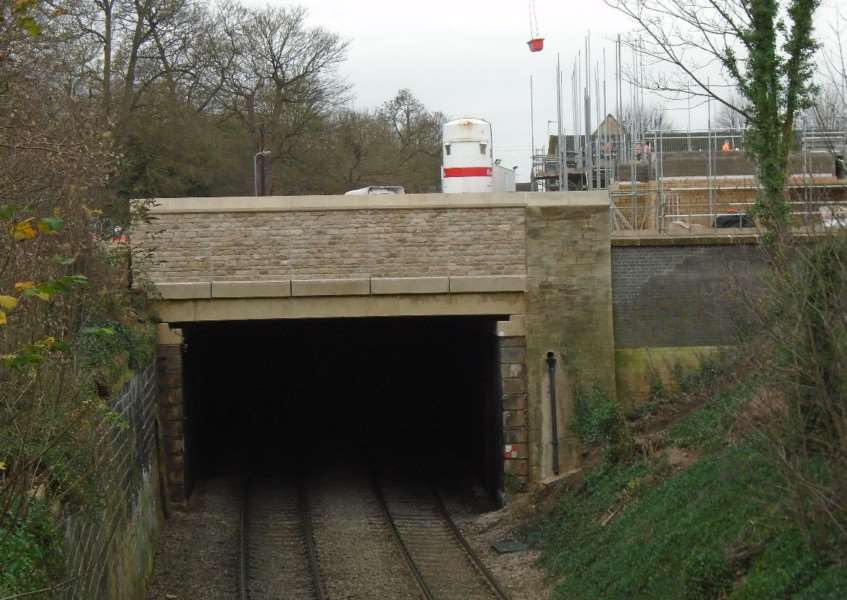 The newly rebuilt railway tunnel beneath Barnack Road in Stamford, which was completed by Network Rail ahead of schedule. EMN-160302-165301001