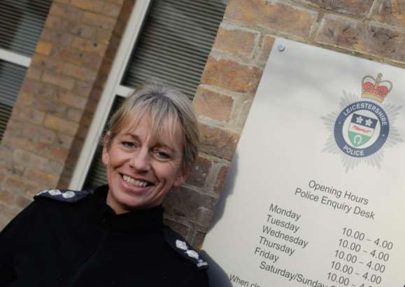 Inspector Lou Cordiner at the new police front enquiry desk at Catmose in Oakham. Photo: Alan Walters MSMP-07-01-15-aw001.