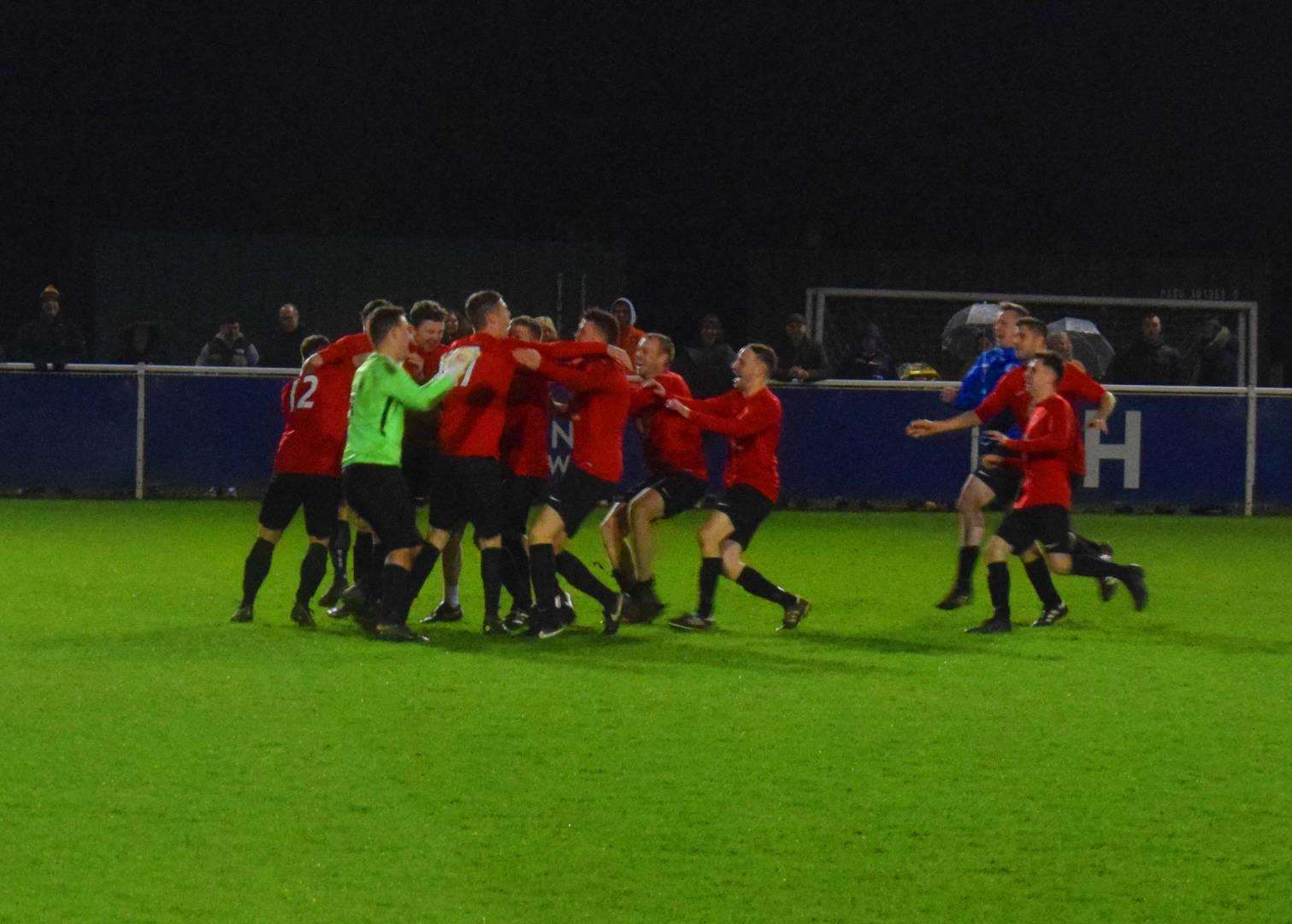 Uppingham Town celebrate their Leicestershire Intermediate Cup triumph. Photo: Melanie O'Berg (7596087)