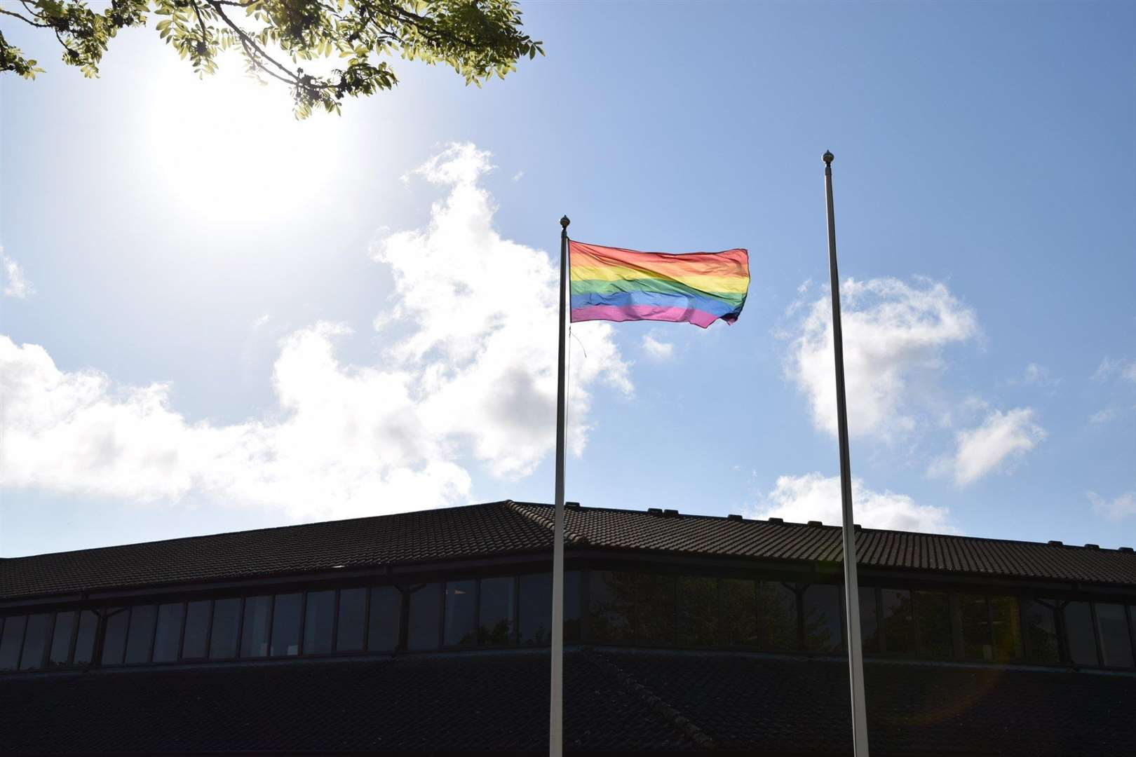 The rainbow flag outside Leicestershire police headquarters