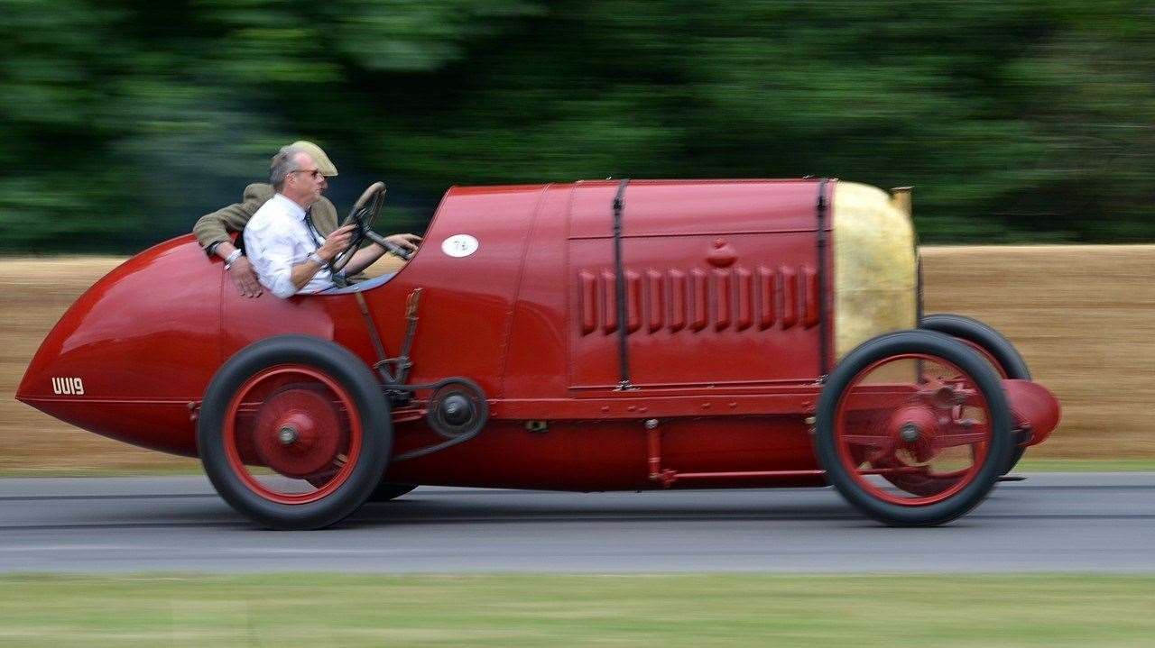 Duncan Pittaway driving The Beast of Turin at Goodwood in 2015. Photo: Neil