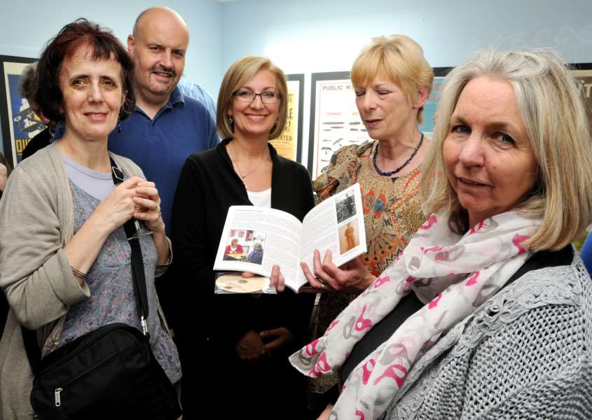 Nicola Allen, Simon Fovargue, Susan Broccoli, Maggie Ashcroft and Judy Stevens at the launch of a book and DVD commemorating people from the Deepings who served their country during World War I. Photo by Tim Wilson.