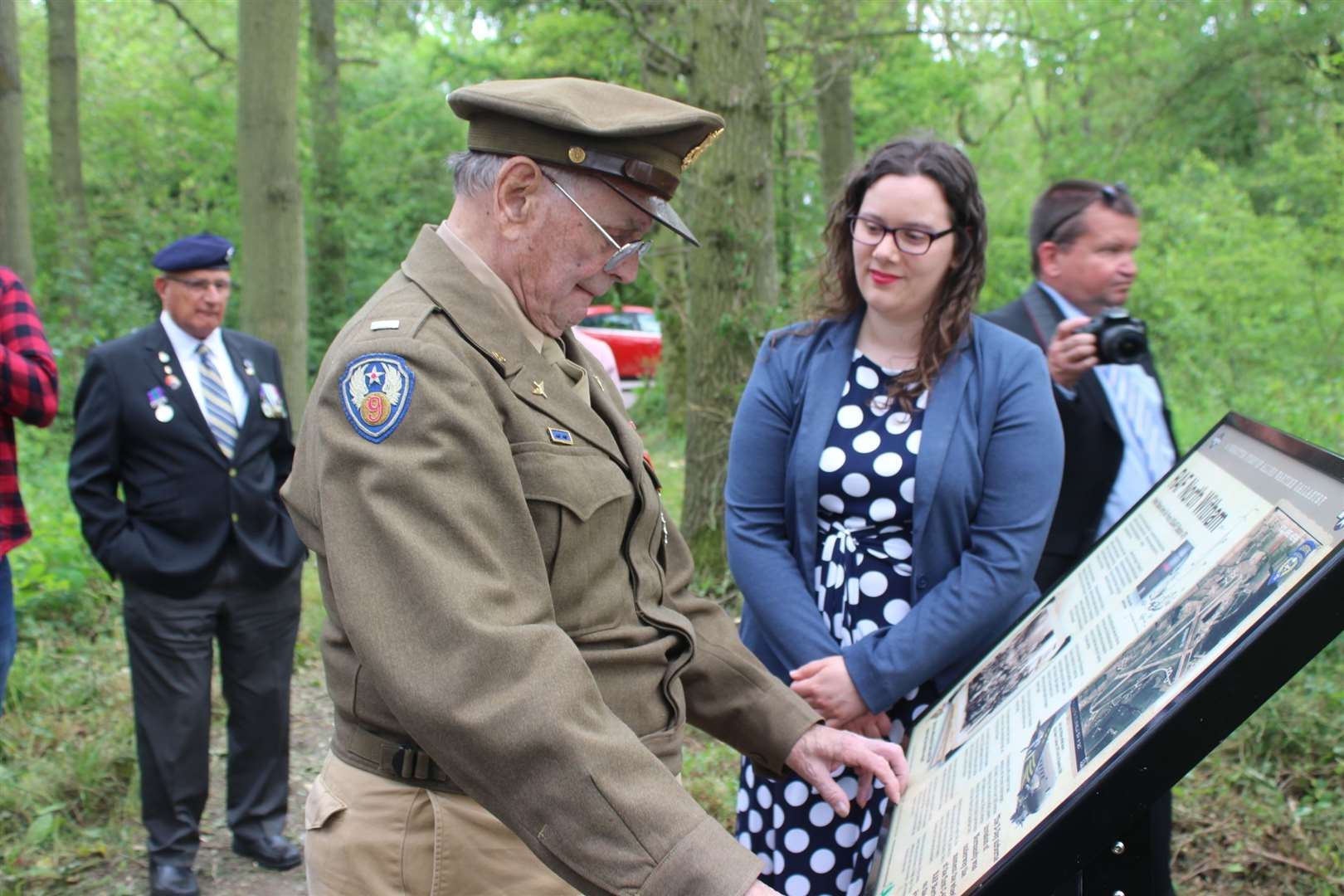 LLt Col Hamilton with Claire Saunders, heritage regeneration officer at InvestSK, whose grant funding paid for the information board at Twyford Wood