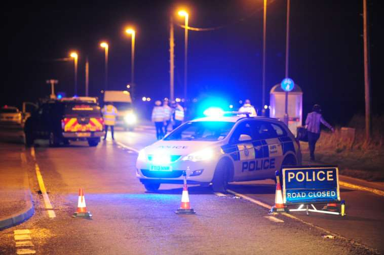 Flashback: Police at the scene of the collision involving two eleven year old girls and a vehicle on the A15 near Thurlby last January