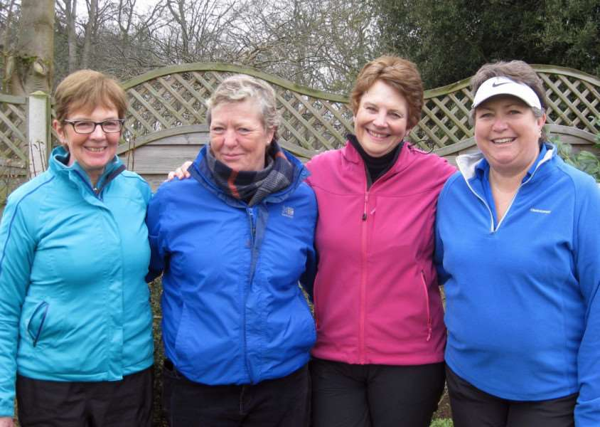 Gail Hunt and Jane Saggers (right) beat Jane Mantel and Sara Harris (left) in the Final of the Ladies' Winter League at Burghley Park on Saturday.