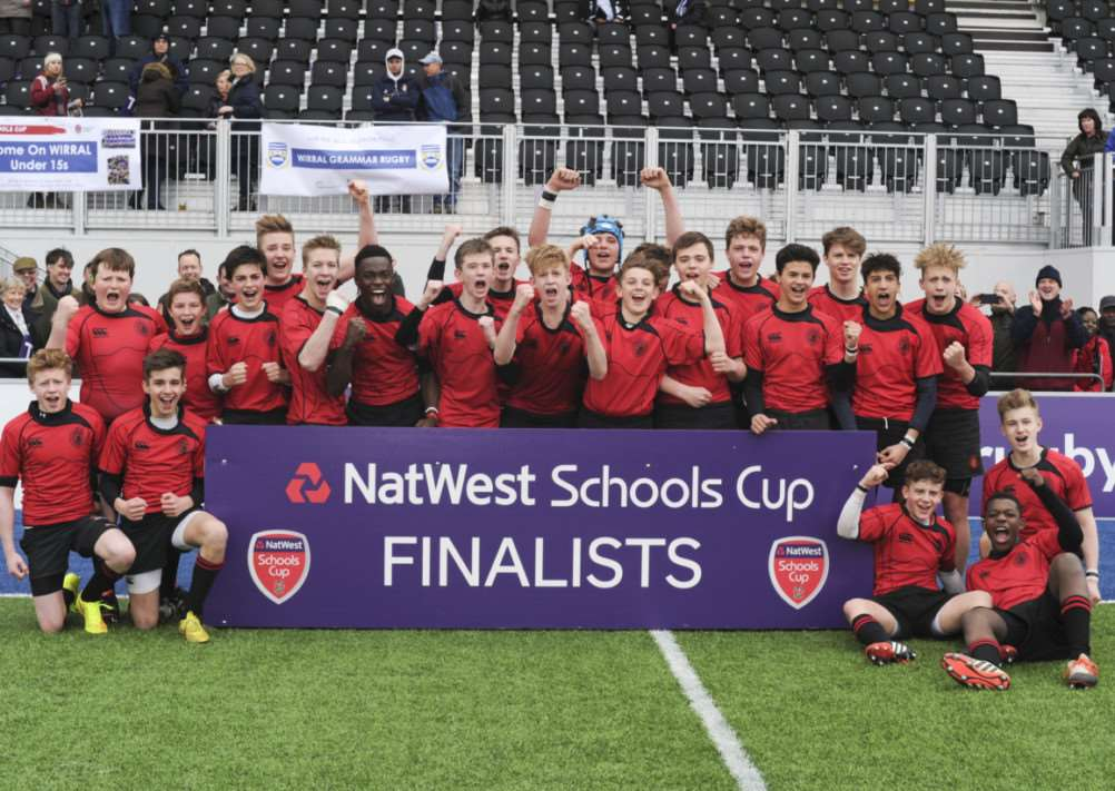 NatWest Schools Rugby 2014/15 - U15 Vase semi-Final - Oakham School v Bishop Wordsworth's School - Sunday 8th March @ The Allianz Stadium - Oakham celebrate victory Photo: Jim Keogh / Gerry McManus Photography EMN-150323-164052001