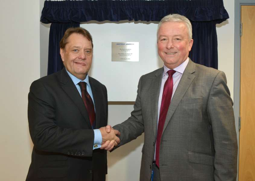 Danny Milligan, managing director of Northrop Grumman Park Air Systems with MP John Hayes EMN-160127-153806001