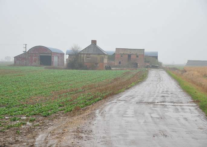 The disused farm buildings in Dunsby Drove near Bourne which were used for an illegal rave in January 2014.
