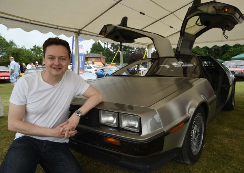 Classic car Show at Baston. Chris hawes with his DMC EMN-150507-210421009
