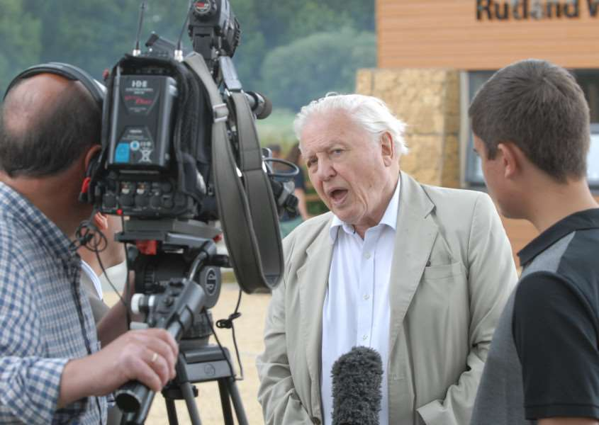Opening of the new Rutland Water Volunteer Centre by Sir David Attenborough - Sir David is interviewed for TV'Photo: MSMP070715-008js