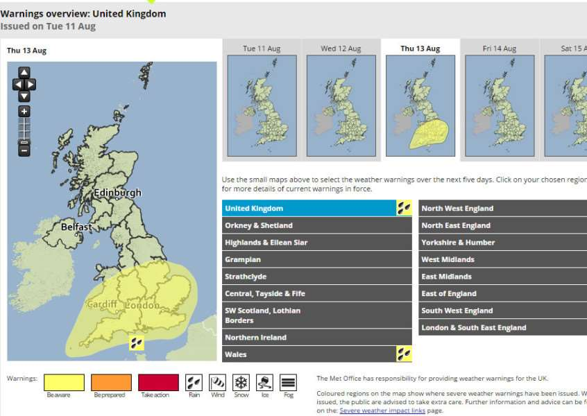 The Met Office has issued a weather warning for the end of this week as heavy rain is due on Thursday and Friday