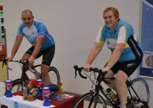 Lead practitioner at the Greenwood Day Surgery in Stamford Hospital Su Mansell will cycle 296 miles from London to Paris to raise money for the UK Children's charity, Action Medical Research. She is pictured with husband Stephen.