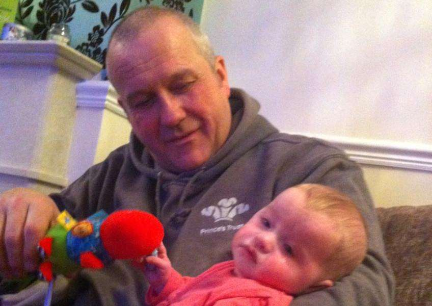 First-time grandad Denham Hughes of Langtoft with miracle child Layla who needed specialist heart surgery last Christmas.