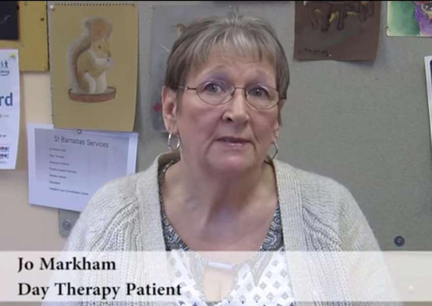 Patient Jo Markham speaking on the new video for St Barnabas Lincolnshire Hospice. EMN-151206-122857001