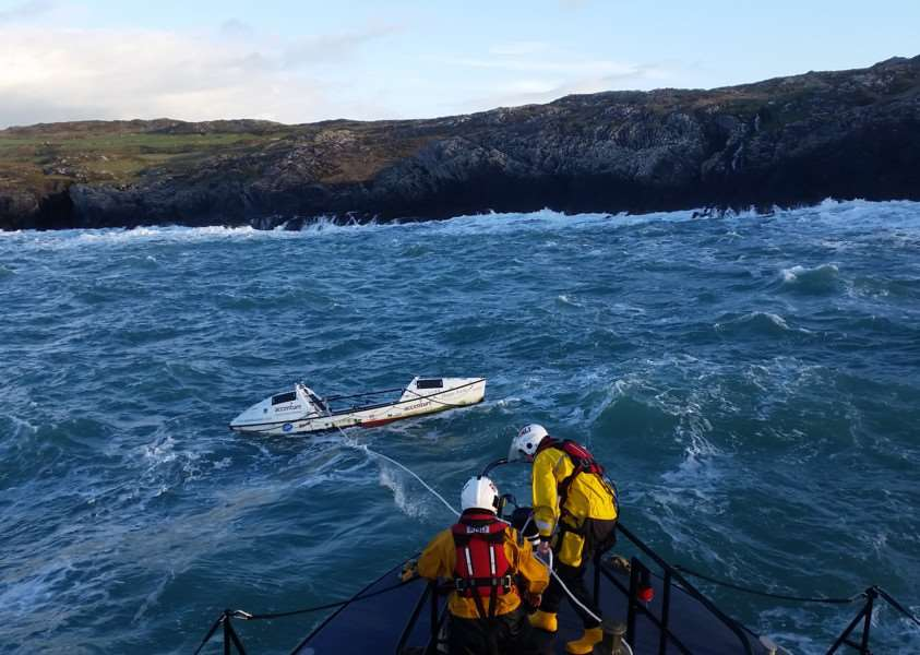 Sarah Outen's boat Happy Socks is rescued off the Irish coast. Photo: RNLI/Castletownbere EMN-160701-091604001