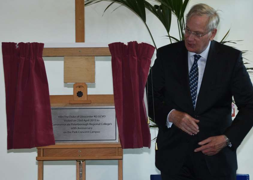 The Duke of Gloucester visits Peterborough Regional College on its 60th anniversary and unveils a plaque to mark his visit. Photo by David Lowndes.