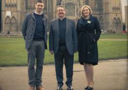 From left, Stamford Stone director Daniel Wilson, The Very Reverend Charles Taylor Dean of Peterborough Cathedral, Stamford Stone director Laura Green