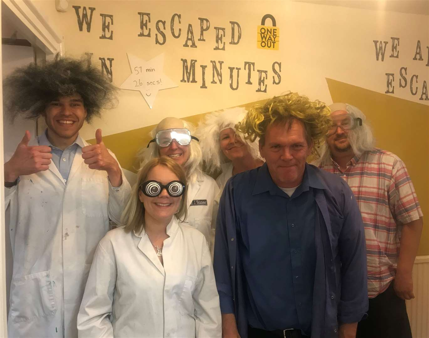 The Mercury team at the No Way Out Escape Rooms in Oakham. From left, reporters Matt Brown, Andrea Scholes and Darren Greenwood and back, news editor Suzanne Moon, editor Kerry Coupe and sports editor James Bedford (14020004)