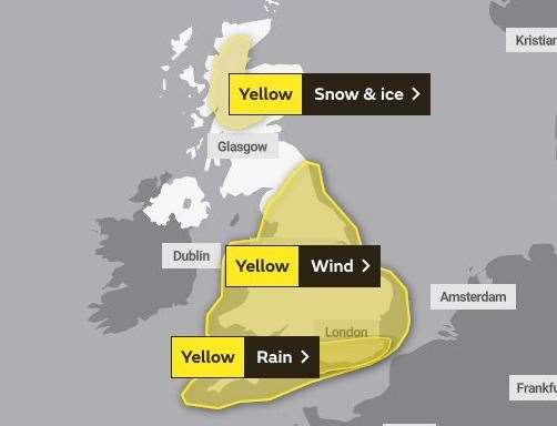 The Met Office has issued a yellow weather warning for wind