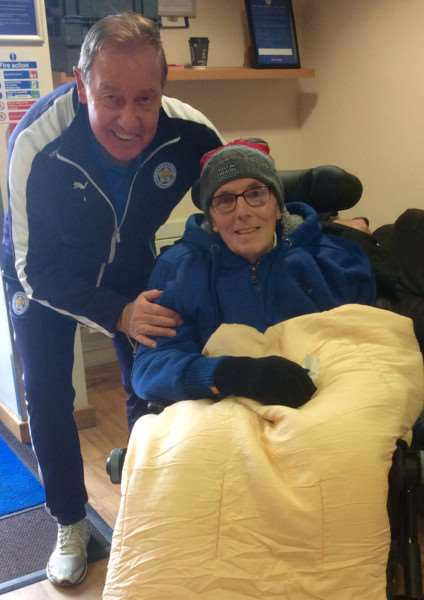Rutland man Jim Chapman, who suffers from Motor Neurone Disease, visits his beloved Leicester City FC thanks to the Honeyrose Foundation. Jim with club ambassador Alan Birchenall. EMN-160127-093044001