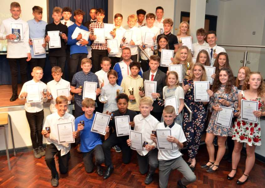 The Deepings School's Sports Presentation Evening with all the winners and special guest, retired badminton international Anthony Clark. Photo (TIM WILSON): SG280617-215TW.