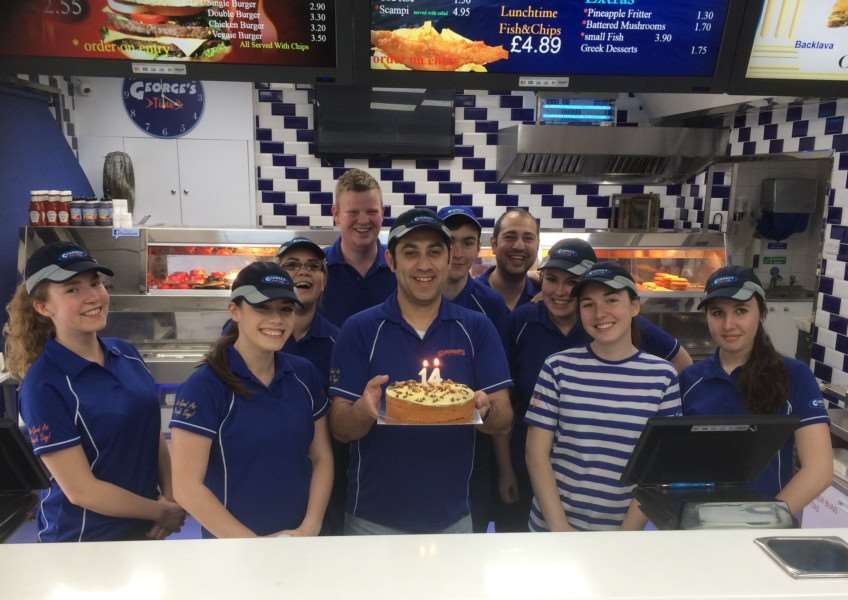 Staff at George's fish and chip shop in Bourne celebrate the 14th anniversary of the businesses by raising money for The Butterfield Centre. EMN-150521-103436001
