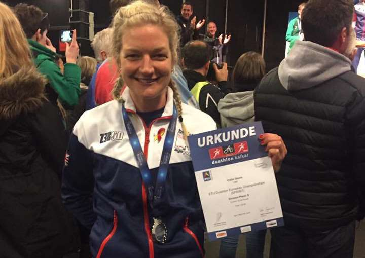 SILVER LINING: Claire Steels who finished second overall at the women's European Duathlon Championships in Germany.